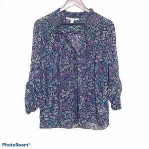 LC Floral Tab Sleeve Blouse Size Medium